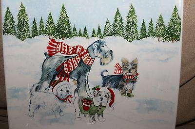 Christmas Dogs Small Christmas Dessert Plate 6 X 6 Terriers