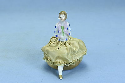 Antique PORCELAIN HALF DOLL PINCUSHION with LEGS BROWN HAIR MADE IN JAPAN HTF