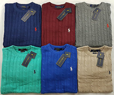 New Mens Polo Ralph Lauren Cable Knit Crew Neck Jumpers