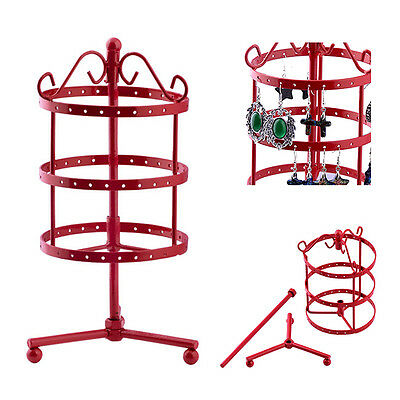 Red 72 Holes Earrings Ear Studs jewelry Roating Display Stand Holder Organizer