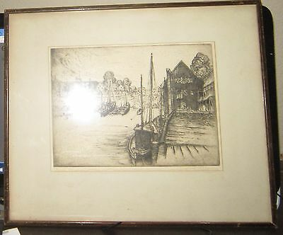 Antique original marine etching  by H. Devitt Welsh, pencil signed, #ed - rare