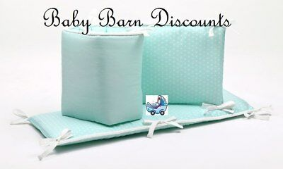 NEW The Peanut Shell Dots Cot Bumper in Mint from Baby Barn Discounts