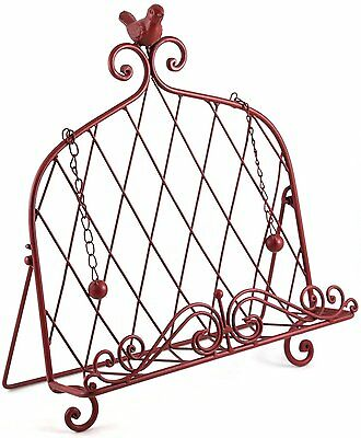 Iron Cookbook Stand ~ Book Holder Adorned with Bird ~ Worn Red Color Book Holder