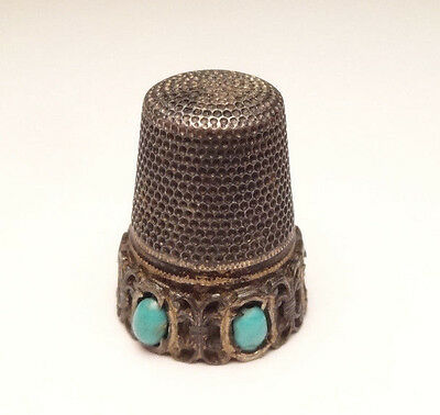 Antique Ornate Turquoise Thimble Sewing Sterling Silver 925 Unique
