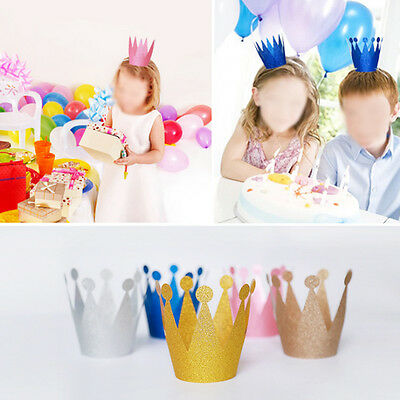 6Pcs Kids Adult Glitter Birthday Hat Cap Crown Prince Princess Party Decoration
