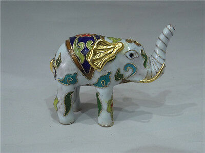 Exquisite Chinese Cloisonne Handwork Carved Lovely Elephants Statue