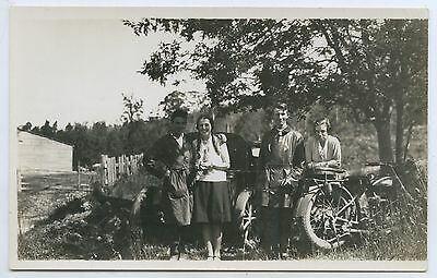 1925 Rp Postcard Happy Couples Touring Tasmania Motor Bike Car Hobart  Z27