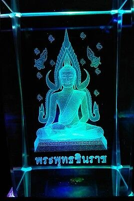 3D Laser Etched Crystal Buddha With LED Stand New Boxed