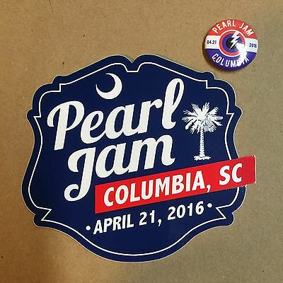 2016 Pearl Jam Columbia Sticker And Pin Set Not Wrigley Fenway