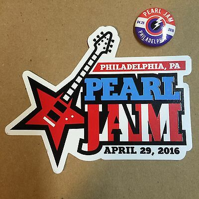2016 Pearl Jam Philadelphia Philly Sticker And Pin Set Not Wrigley Fenway