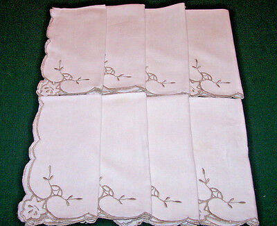 8 VINTAGE LINEN NAPKINS, CUTWORK EMBROIDERED FLORAL THEME, c1930