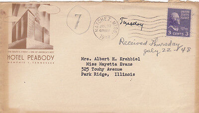 Illustrated advertising Cover envelope Hotel Peabody Memphis TN 1948 great image