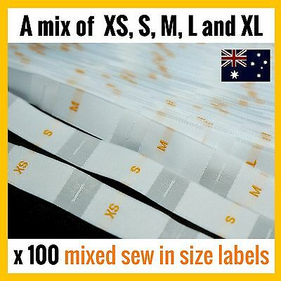 100 x mix XS S M L XL clothing size label tag sew in white woven tabs fabric