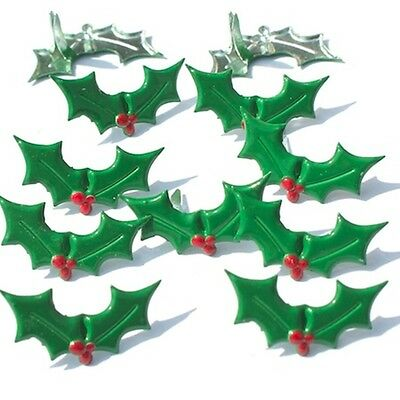 Holly  Brads  ** 8 Pcs ** Merry Christmas ** See My Store **