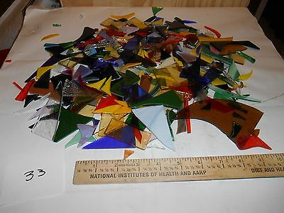 3 pounds stained glass scrap pieces #33