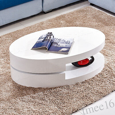 360°White Round Rotatable High Gloss  Oval Coffee Table For Livingroom Furniture