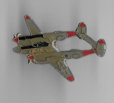 Vintage P-38 Lightning Military Fighter Aircraft old enamel pin