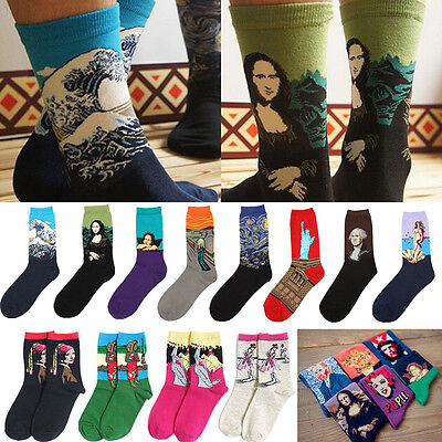 1Pair World Famous Painting Art Socks Novelty Mona Lisa The Scream Starry Lovely