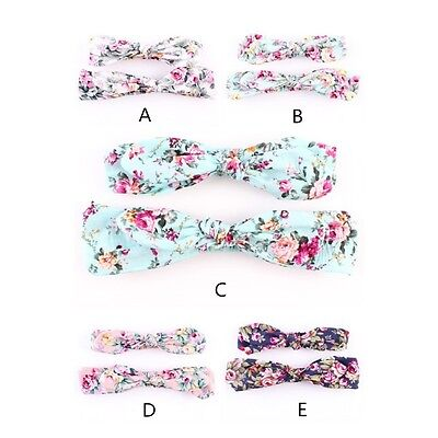 2PCS Mother + Baby Girls Hair Band Boho Rabbit Flower Headband Kids Headwear