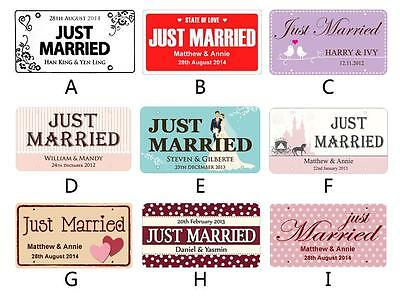 Customized JUST MARRIED PVC License Plate Sign Personalized WEDDING Car Decor