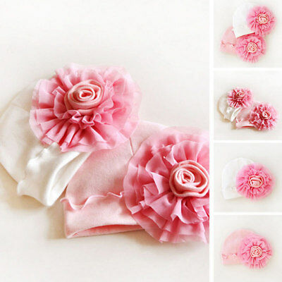 Newborn Baby Girls Infant Big Flower Soft Cotton Hospital Cap Beanie Hat Cute