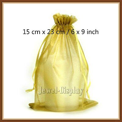 100 Pcs Gold Organza Jewelry Packaging Pouches Gift Bag 15 x 23 cm / 6 x 9 inch