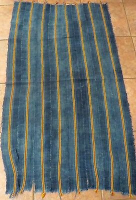 "Vintage African,Dogon, Mali Indigo Dyed Fabric/Hand Woven Cotton Strips/30""x53"""