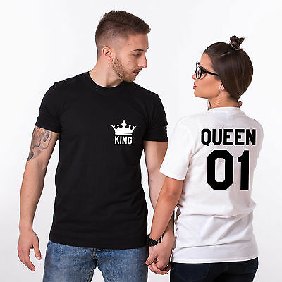 King Queen Shirts Matching Couples Tees with Crowns Valentine's Day His and Hers