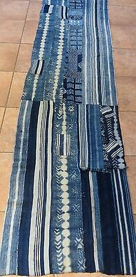 "One-of-a-Kind Long Shawl, 24""x102"", Made From Vintage African Indigo Textiles"