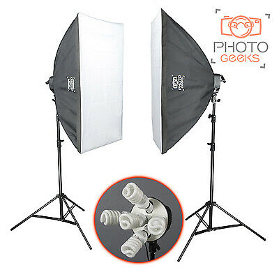 Photography Studio Double Softbox Kit | 3950w | Continuous Lighting Photo Video