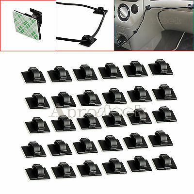 30pcs Wire Clip Car Tie Rectangle Cord Cable Holder Mount Clamp Self-adhesive