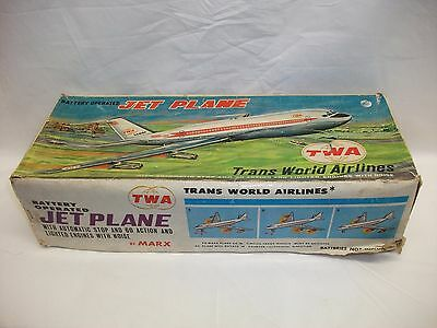 Vintage Marx Battery Operated Tinplate TWA Jet Plane Boxed Toy