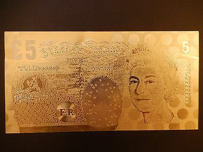 24K GOLD COATED 1 No £5 BANKNOTE -BRAND NEW*