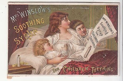 Mrs Winslow's Soothing Syrup in Bed Newspaper Children Teething Vict Card c1880s