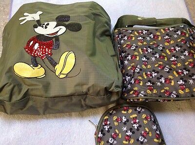 Disney Mickey Mouse 3 pc set, travel tote bag, hand bag, cosmetic bag new