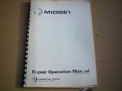 MG Midget workshop repair operations manuals for 1975 reprinted later by Mgoc