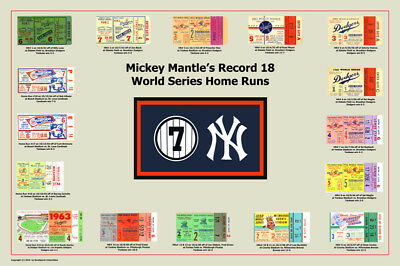 Mickey Mantle World Series Home Run Tickets Poster NEW
