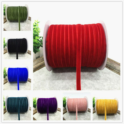 """76 Colors 5 Yards 3/8"""" 10mm Velvet Ribbon Clips Crafts Sew Clips Bow Decoration"""