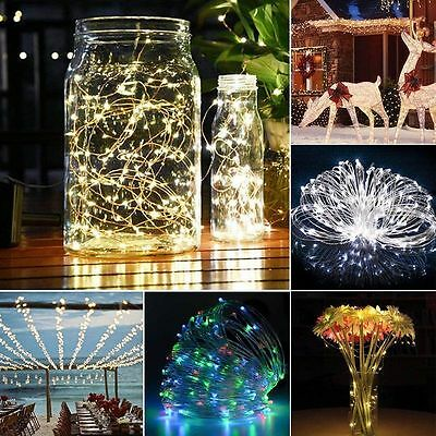 10/15/20m LED Solar Fairy String Light Outdoor Wedding Christmas Party Lamp FG