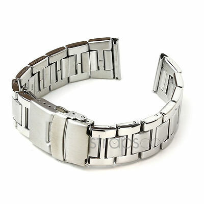 StrapsCo Solid Stainless Steel Watch Band Mens Strap Bracelet metal Silver Tone