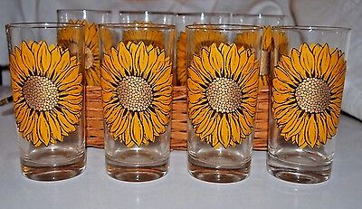 8 vintage glasses with Sunflowers and Hostess Tray