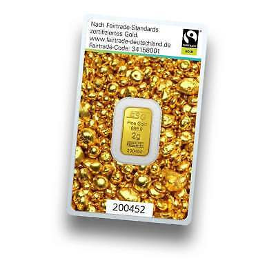 Goldbarren 2g (2 Gramm) - Fairtrade Gold - 999.9 Feingold - Argor Heraeus