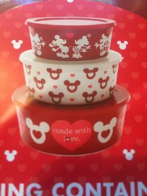 Disney Mickey Minnie Mouse Red Nesting Storage Containers bowls Valentines