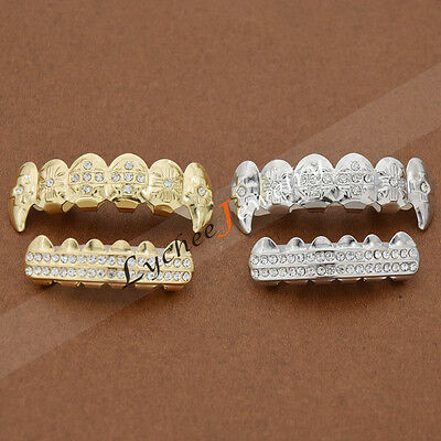 Hip Hop Diamond Grills Grillz Gold Plated Punk Copper Fashion Canine Teeth 1 Set