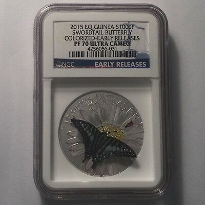 2015 EQ. Guinea S1000F Swordtail Butterfly Colorized NGC PF 70 Ultra Cameo
