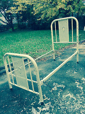Antique Vintage Iron Metal Cain Bed Headboard Footboard & Siderails! Cottage