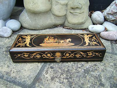 TERRIFIC 19c EBONY SORRENTO ANTIQUE INLAID JEWELERY BOX - FAB INTERIOR
