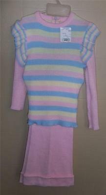 GIRL'S PINK BLUE & YELLOW PASTEL EASTER 2 PC KNIT SUIT SLACKS & SWEATER Sz 6 NWT