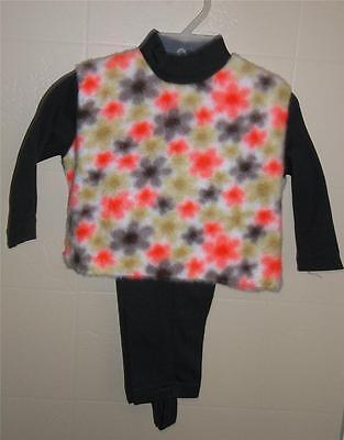 GIRL'S VTG 2 PC SUIT STIRRUP PANTS LONG SLEEVE SHIRT FUZZY FLOWERS Sz 18 MONTHS