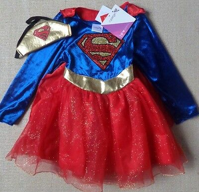 Girls Supergirl Costume Outfit Fancy Dress Up Ages 3-10 Years ~ Red, Blue, Gold